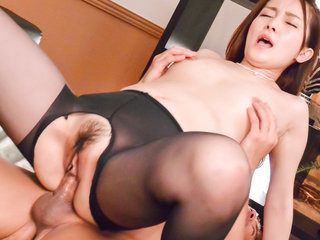 Asuka asian in red stockings is fucked with