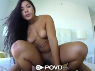 HD - POVD Teenage Morgan Lee soaps up her cunny in the..