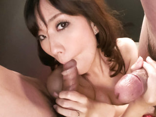 Manami Komukai with 2 horndogs getting down and dirty.